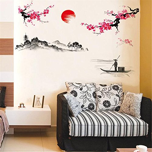 Vovotrade® Creative Classique Style Chinois Peinture l'encre Stickers Muraux Décoratifs Peach Classical Chinese Style Ink Painting Decorative Wall Stickers (Multicolor)