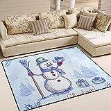 Joe-shop Alfombra de área de Regalos de muñeco de Nieve de Navidad Azul Vintage Alfombra Rectangular Alfombra Lavable para Dormitorio Sala de Estar Comedor 60x39 Pulgadas / 150x100cm
