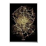 WJWGP Madrid Ciudad Luz Mapas Oro Poster Mundo Ciudad Mapa De La Lona Impresiones NóRdico Pared Arte Pintura para Salon Hogar Cuadros Decoracion 40x60cm No Marco