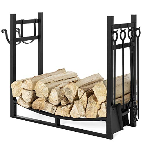 Best Choice Products 33.5in Steel Firewood Log Storage Rack Accessory and Tools for Indoor/Outdoor...
