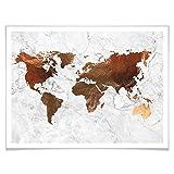 Poster Kupfer - Weltkarte Kupfereffekt Optik Marmor Look
