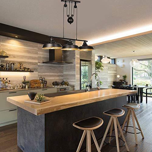 3-Light Pully Pendant Kitchen Light Adjustable