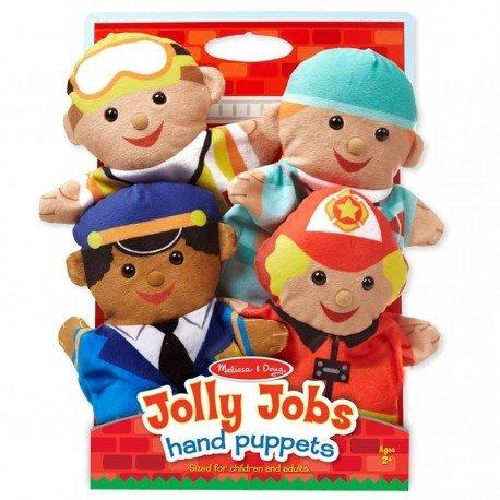 Melissa and doug - Set de 4 Marionnettes à main Les secouristes pompier docteur police en velours pour enfants dès 2 ans