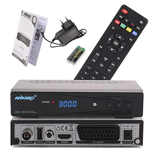 Ankaro DCR 3000 Plus digitaler 1080p Full HD Kabel-Receiver für Kabelfernsehen mit PVR Aufnahme Funktion (HDTV, DVB-C/C2, HDMI, Scart, Coaxial, Mediaplayer, USB) automatische Installation–schwarz