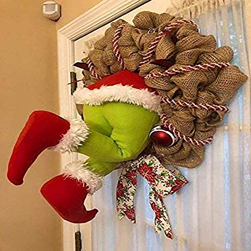 Christmas Wreath, Front Door Wreath, Santa Claus Thief Stole Burlap Wreath Pre-lit Christmas Garland Hanging Ornament for Home Living Room Wall Window Christmas Tree Indoor Outdoor Decoration 16in