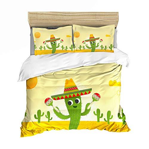 Biancheria da letto XIJIE, copripiumino in microfibra stampato in 3D, federa, biancheria da letto dei cartoni animati con cactus, ragazzo e ragazza, adulto, set di tre pezzi
