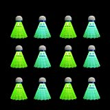 HIRALIY 12 Pack LED Badminton Shuttlecocks Birdies Lighting Nylon Shuttlecocks Glow in The Dark for Backyard Family Game, Includes 6 Green LED and 6 Blue LED