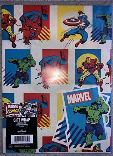 Offizielles Marvel Avengers Geschenkpapier – 2 Bögen & 2 Geschenkanhänger – Ironman, Hulk, Captain America & Spiderman