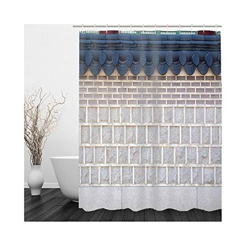 Cenliva Duschvorhang Hochwertige Qualität, Duschvorhang Khaki Blue Badvorhang Zaun Polyester