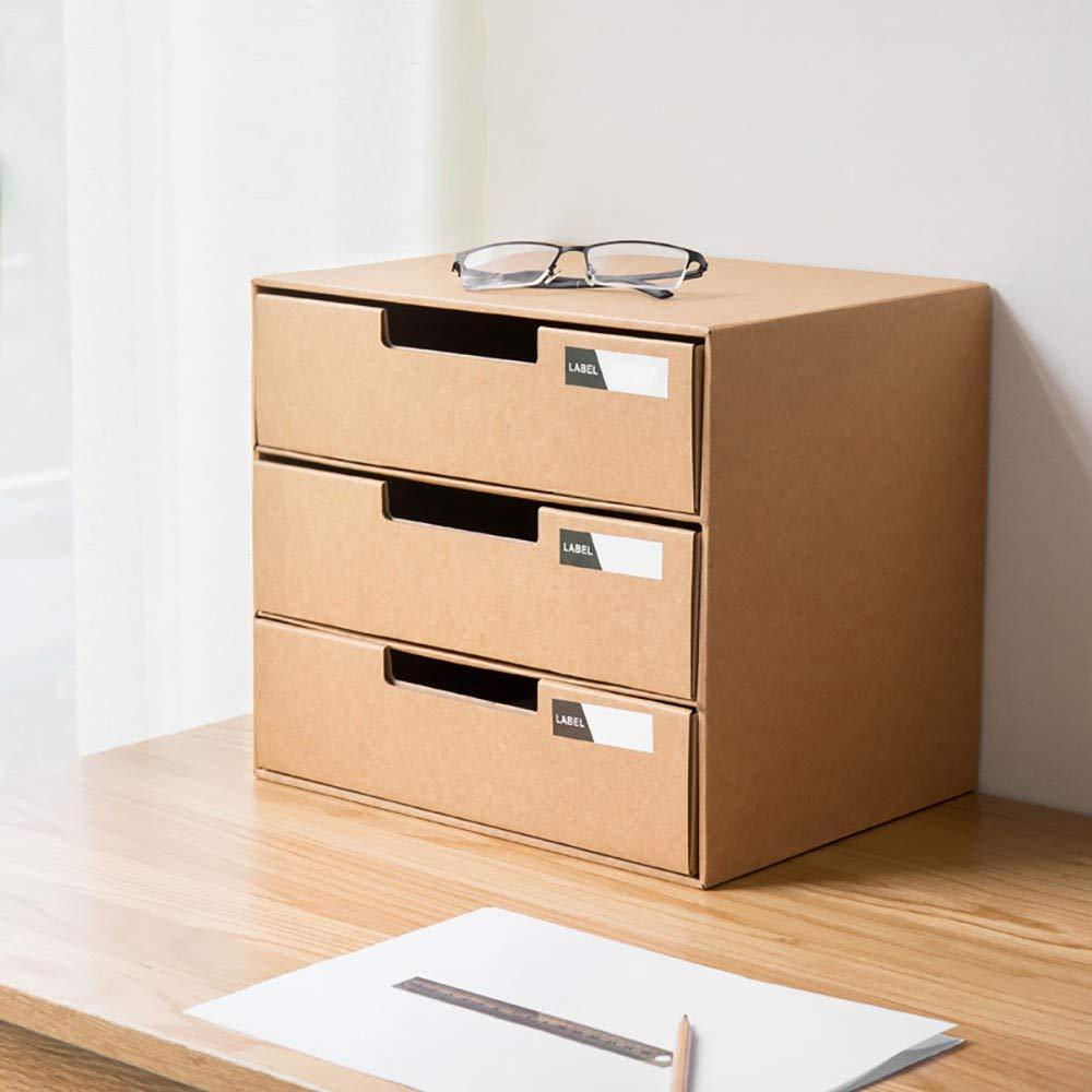 LOHOX Caja de Almacenamiento de la Oficina Revistero Archivador con Cédula Kraft Paper Organizador de Documentos Papelería Revista Lápices Accesorios de Escritorio 3 Piezas: Amazon.es: Hogar
