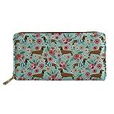 chaqlin Dachshund Design Purse Handbag Girls Clutch Bag Phone Holder Money Clips with Coin Pocket 4 Card Slots