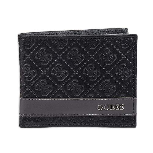 Guess Men's Leather Slim Bifold Wallet, Black Printed, One Size