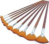 Fan Brushes Fan Art Paintbrushes Artist Soft Anti-Shedding Nylon Hair Paint Brush Set for Acrylic Watercolor Oil Gouache Painting Long Handle (9pcs Fan Brush Set)