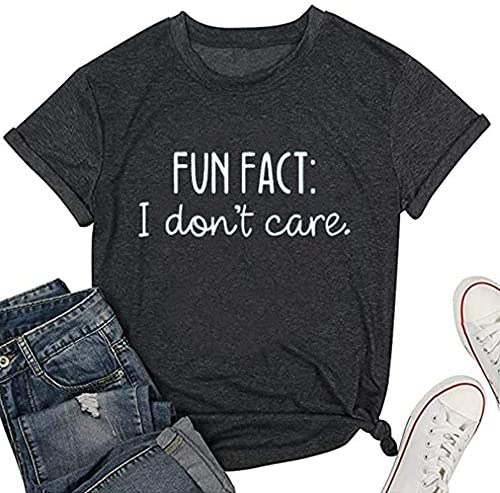 Calvin Fun Fact l Don t Care Letter Print T Shirt for Women Funny Sayings Graphic Tees S Grey product image