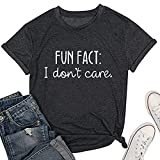 Calvin Fun Fact l Don\t Care Letter Print T-Shirt for Women Funny Sayings Graphic Tees-L Grey