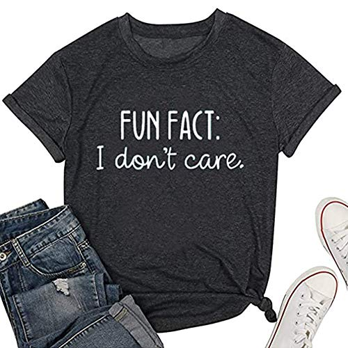 Calvin Fun Fact l Don't Care Letter Print T-Shirt for Women Funny Sayings Graphic Tees-L Grey