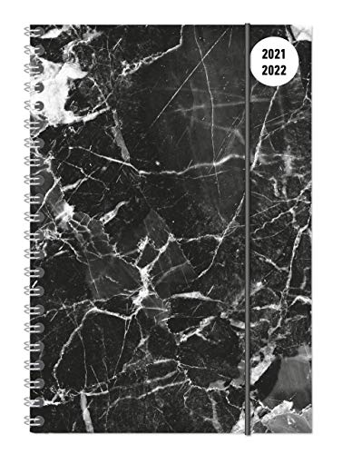 Collegetimer Black Marble 2021/2022 - Schüler-Kalender A5 (15x21 cm) - Marmor - Ringbindung - Weekly - 224 Seiten - Terminplaner - Alpha Edition (Collegetimer A5 Ringbuch)