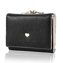 Geldbörse Damen - Geldbeutel Damen Leder Brieftasche, Portmonee Damen Leder Elegant Süß Handtasche Portemonnaie Geldbeutel für Frauen (Schwarz)