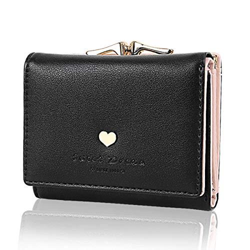 JORYEE Geldbörse Damen - Geldbeutel Damen Leder Brieftasche, Portmonee Damen Leder Elegant Süß Handtasche Portemonnaie Geldbeutel für Frauen (Schwarz)