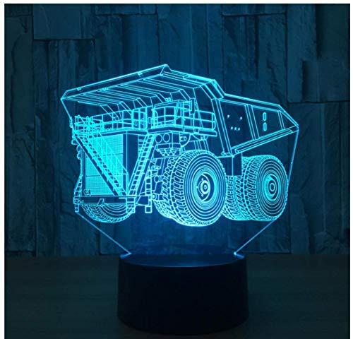 Container Truck 3D LED Licht Lampe 7 Farbwechsel Touch Remote USB Tisch Feuerwehr LKW Technik Fahrzeug