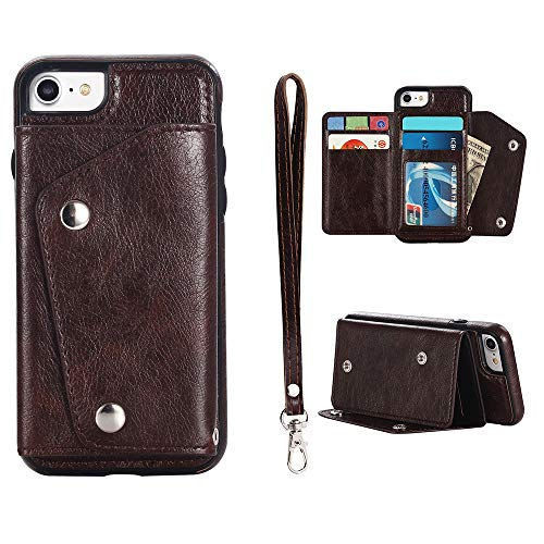 UEEBAI Case for iPhone 6 6S, Fashion Premium PU Leather Case [Card Holder] Stand Function Two Magnetic Buckle Flexible TPU Case with Wrist Strap Back Wallet Notecase Flip Cover for iPhone 6/6S - Brown