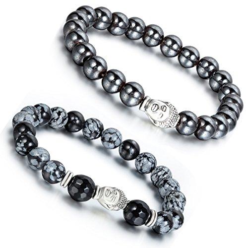 Aroncent 2 PCS Lodestone Snow Agate Beads Buddhist Bracelet Mala Religious Prayer with Buddha Head