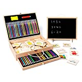 Groust Juego de lápices de colores, set de dibujo para niños, lápices de acuarela, juego de lápices de colores con libro de bocetos, lápices de acuarela para niños, principiantes, artistas.