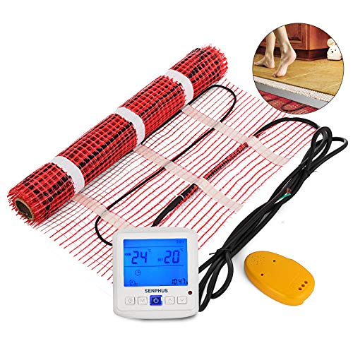 Happybuy 35 Sqft 120V Electric Radiant Floor Heating Mat with Alarmer and Programmable Floor Sensing Thermostat Self-Adhesive Mesh Underfloor Heat Warming Systems Mats Kit (35Sqft Kit)
