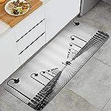 VANKINE Kitchen Mats Non slip Mats Doormats,Bridge Umbrella Couple Silhouette Bench Street Light Gray,Bedroom Area Rugs Carpet,Polyester Absorbent Floor Mats
