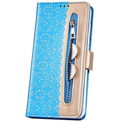 JAWSEU Huawei P30 Lite Coque Pochette Portefeuille Dentelle Fleur Housse Etui à Rabat Cuir Stand Magnétique Flip Wallet Case avec Fentes de Carte pour Huawei P30 Lite,Bleu