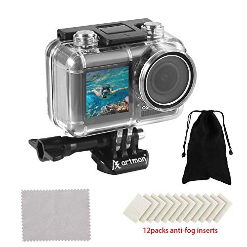 Homesuit Unterwassergehäuse für DJI Osmo Action Kamera Diving Schutzhülle/Gehäuse/Shell 200ft / 61M mit 12 Anti-Fog-Einsätzen und einem tragbaren Beutel zur Aufbewahrung