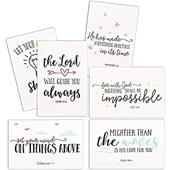 48 Pack Inspirational Greeting Cards with Christian Bible Verse Quotes Envelopes Included 4x6