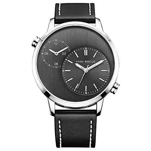 Men's Business Quartz Watch Dual Time Zone Japanes Movement Man Black Leather Wristwatch Waterproof