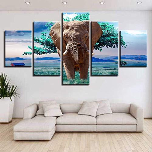 Fotolijsten modulaire canvas HD Prints Posters 5 stuks dierlijke olifanten groene bomen landschap schilderij decoratie woonkamer muurkunst 30x40cmx2 30x60cmx2 30x80cmx1 No Frame