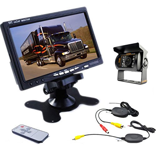 Camecho RC 12V 24V Car Backup Camera Rear View Wireless IR Night Vision Backup Camera Waterproof Kit + 7' TFT LCD Monitor Parking Assistance System for Truck/Van/Caravan/Trailers/Camper