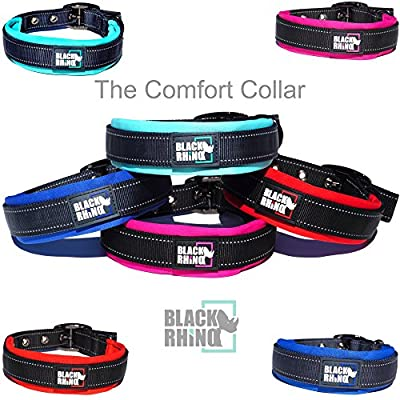 Black Rhino - The Comfort Collar Ultra Soft Neoprene Padded Dog Collar for All Breeds - Heavy Duty Adjustable Reflective Weatherproof