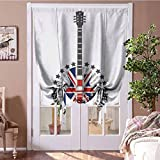 Curtain Panels Rock Music Balloon Curtain Shade Union Jack Patterned Guitar Stars Union Jack Design Musical Instrument for Kids' Room, Highly Durable Red Royal Blue Cream Rod Pocket Panel, 31'W x 63'L