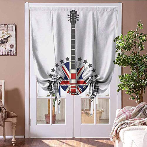 "Curtain Panels Rock Music Balloon Curtain Shade Union Jack Patterned Guitar Stars Union Jack Design Musical Instrument for Kids' Room, Highly Durable Red Royal Blue Cream Rod Pocket Panel, 31""W x 63""L"