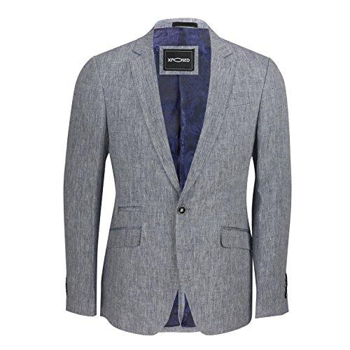 Herrenblazer, sportlich elegant, eng geschnitten, aus Baumwoll-Leinen-Mischgewebe, italienisches Vintage-Design, 4 Farben Gr. Brust 56, himmelblau