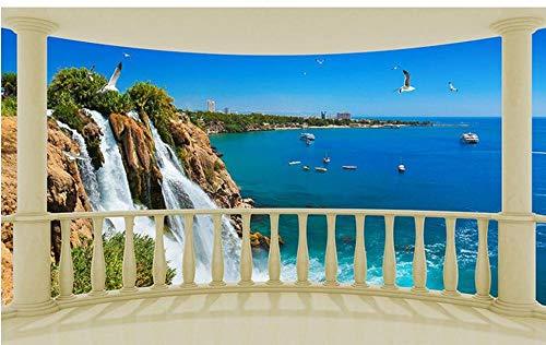 Tapeten, Blume, 3D, mediterran, Wasserfall, Terrasse, Blick auf das Meer, selbstklebend, 3D-Gemälde, Dekoration für das Haus, 200 x 140 cm, Seidentuch