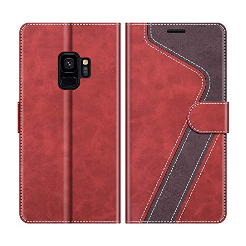MOBESV Handyhülle für Samsung Galaxy S9 Hülle Leder, Samsung Galaxy S9 Klapphülle Handytasche Case für Samsung Galaxy S9 Handy Hüllen, Modisch Rot