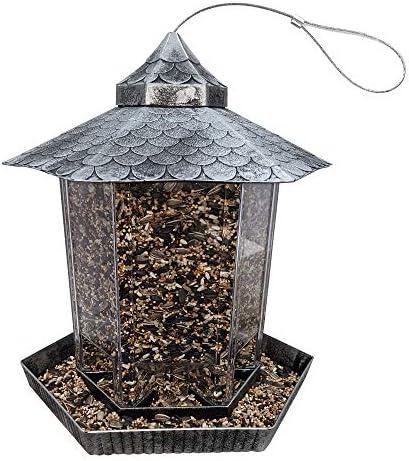 Gray Bunny Gazebo Bird Feeder Silver Wild Bird Feeder Hanging Birdfeeder for Outdoors product image