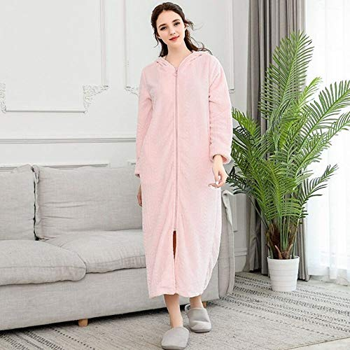YPDM Bademantel,Extra Long Plus Size Winter Warm Flannel Bathrobe Women Men Zipper Hooded Bath Robe Couple Thicken Warm Dressing Gown Sleepwear,Pink,Women,XL