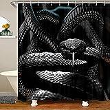 Loussiesd Schwarz Schlange Wasserdicht Duschvorhang 180x200cm Tierwelt Dekor Haken für Kinder Jungen Mädchen 3D Schlange Drucken Stoff Duschvorhang Textil Wild Tier Zuhause Dekorativ