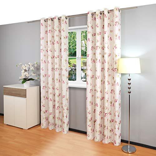 Gräfenstayn Rosemarie - blickdichte Gardine mit Ösen und stilvollem Rosen-Design - Maße (Länge x Breite): 245x140cm - Öko-Tex Standard 100