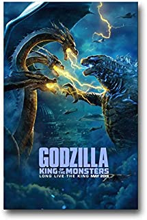 Godzilla King of Monsters Poster Movie Promo 11 x 17 inches Fight with 3 Heads Blue Clouds
