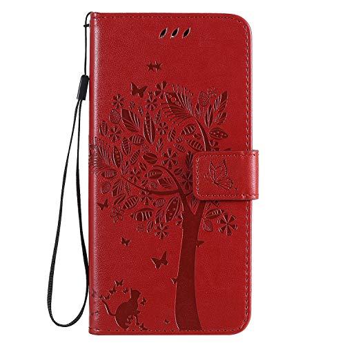 Fatcatparadise Kompatibel mit Nokia 2.3 Hülle + Panzerglas Schutzfolie, Prägung Muster Schutzhülle PU Leder Handyhülle Wallet Case Flip Hülle Brieftasche Ledertasche (Rot)