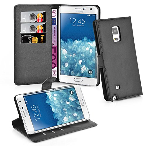 Cadorabo Hülle kompatibel mit Samsung Galaxy Note Edge Hülle in Phantom SCHWARZ Handyhülle mit Kartenfach & Standfunktion Schutzhülle Etui Tasche