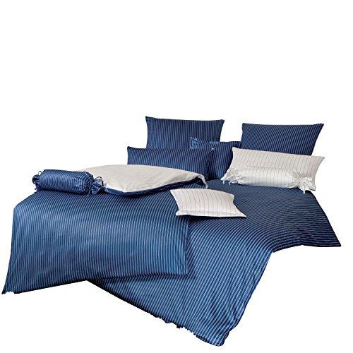 Janine Design Parure de lit en satin mako Moderne classique Bleu foncé