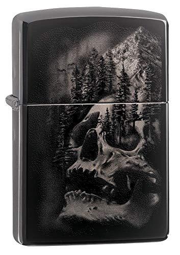 ZIPPO – Skull Mountain Design - Black Ice – Sturmfeuerzeug, nachfüllbar, in hochwertiger Geschenkbox
